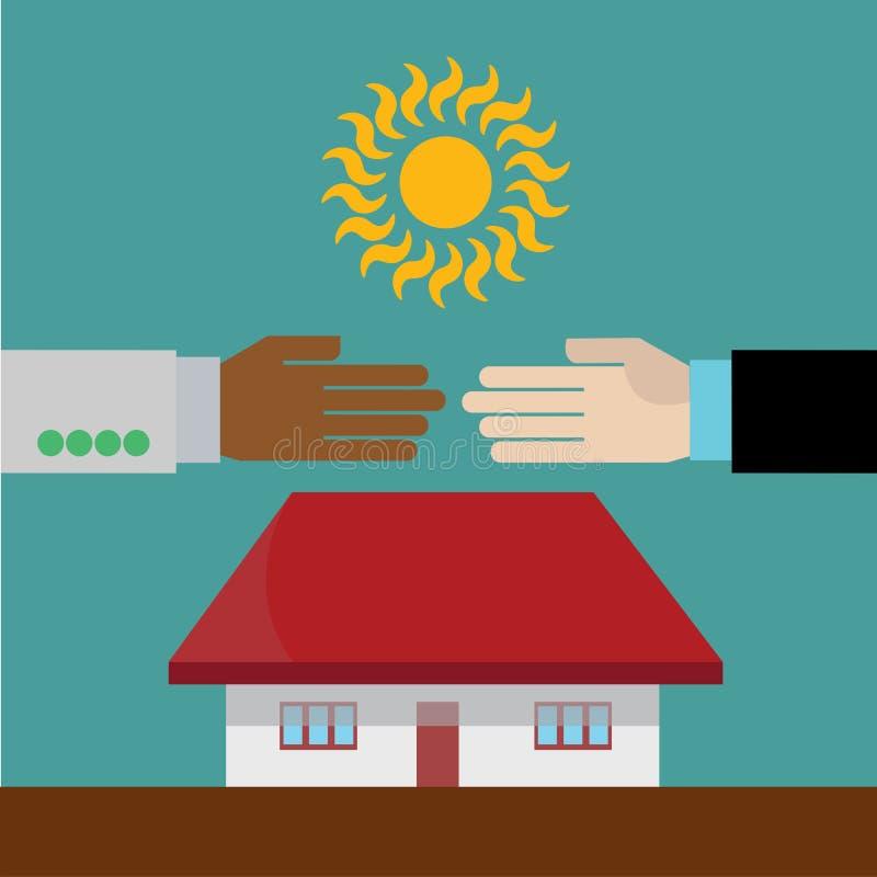 Mãos que agitam no acordo dos bens imobiliários ilustração stock