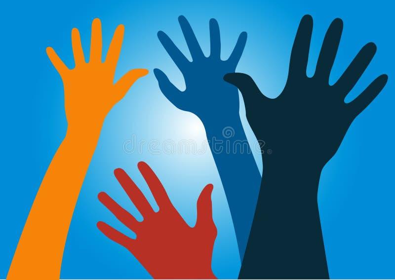 Mãos que alcançam no ar ilustração stock