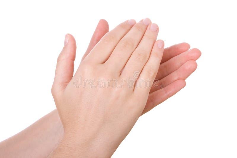Mãos que aplaudem ou que aplaudem fotografia de stock