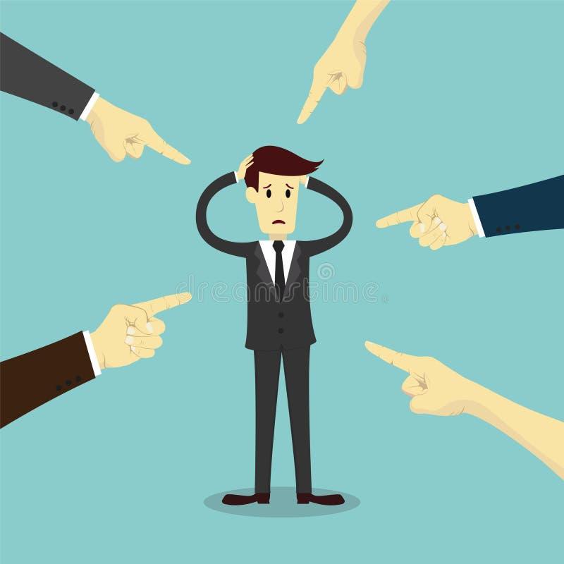 Mãos que apontam ao homem de negócios da culpa ilustração stock