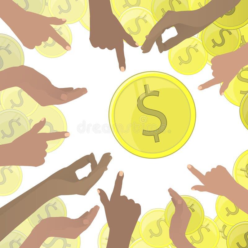 Mãos que apontam em dólares de moedas de ouro muito ilustração royalty free