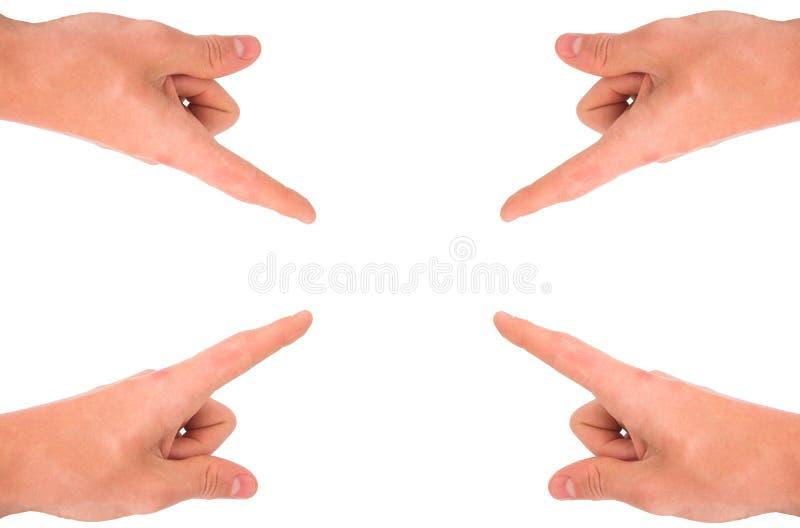 Mãos que apontam em seu produto imagens de stock royalty free