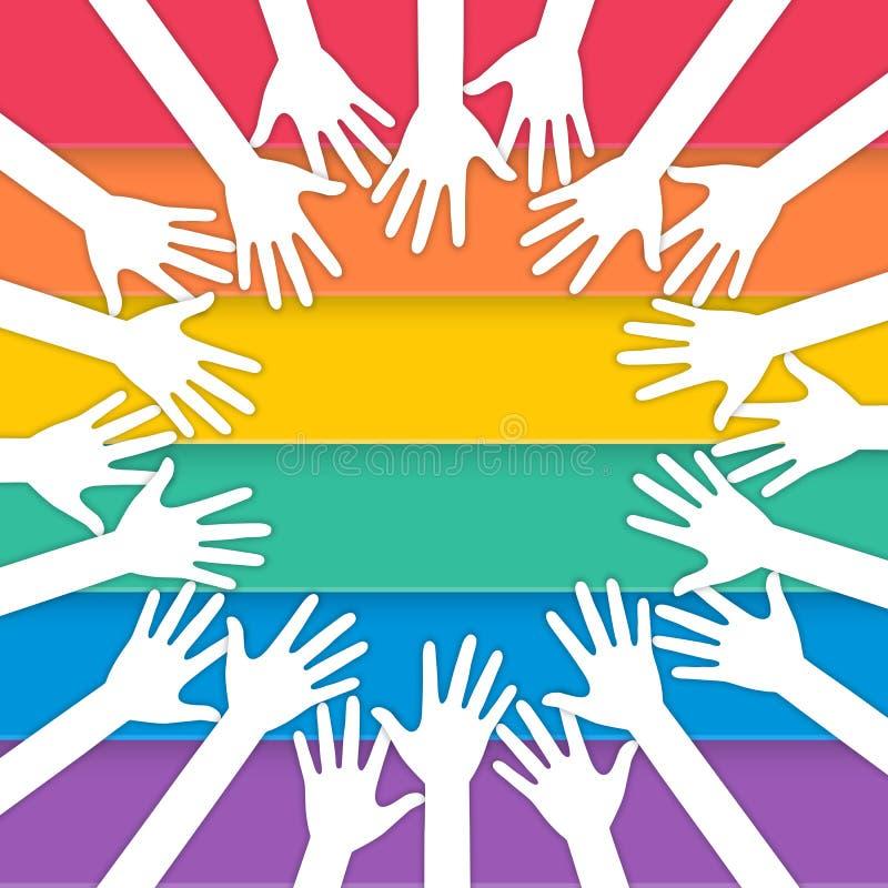 Mãos que aumentam com bandeira do orgulho ilustração do vetor