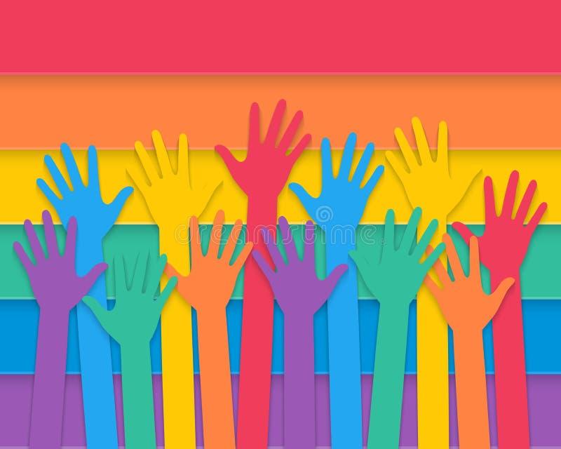 Mãos que aumentam com bandeira do orgulho ilustração stock