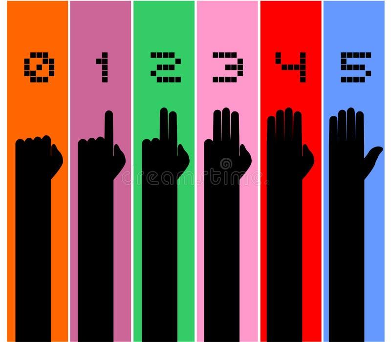 Mãos que contam o símbolo ilustração do vetor