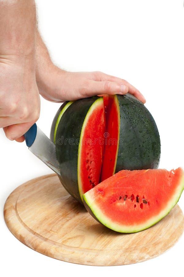 Mãos que cortam a melancia fotografia de stock