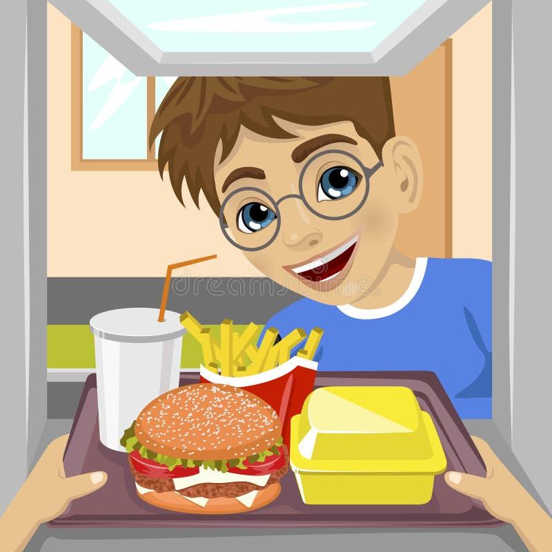 Mãos que dão a bandeja com refeições do fast food com a movimentação-através da janela ao menino feliz do adolescente ilustração royalty free
