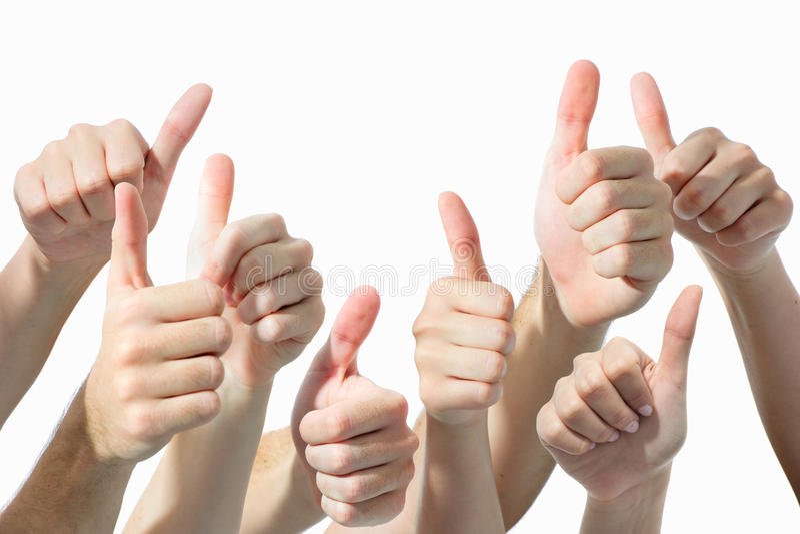 Mãos que dão os polegares acima fotografia de stock royalty free