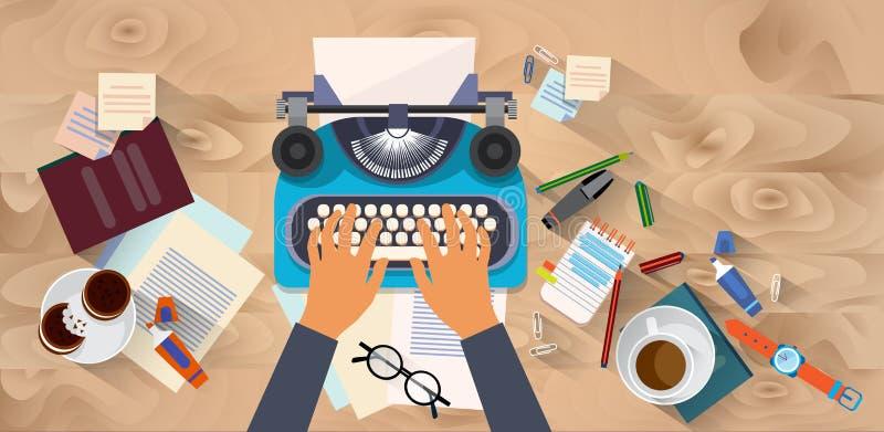 Mãos que datilografam a opinião de ângulo do desktop da textura de Blog Typewrite Wooden autor do escritor do texto ilustração royalty free