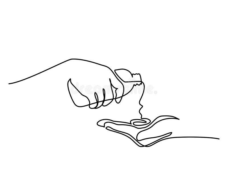 Mãos que derramam o óleo para um tratamento dos termas ilustração do vetor