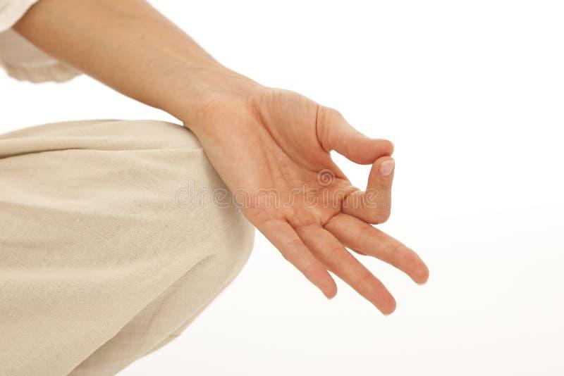 Mãos que fazem a ioga fotos de stock royalty free