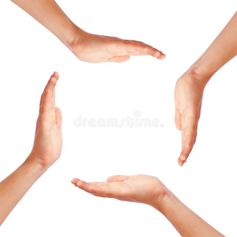 Mãos que fazem o círculo fotografia de stock royalty free