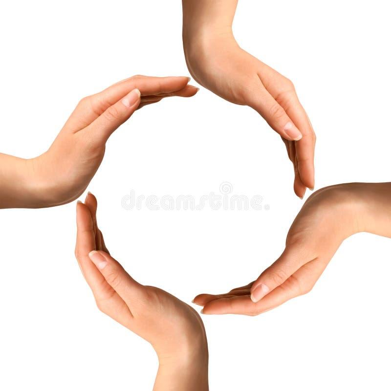 Mãos que fazem um círculo foto de stock