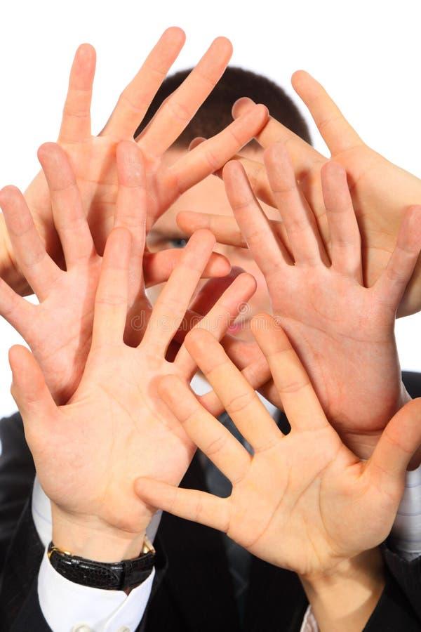 Mãos que fecham a pessoa fotos de stock
