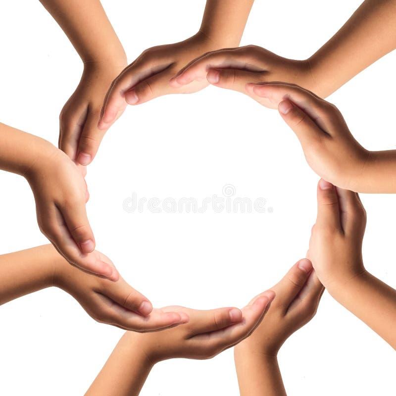 Mãos que formam o círculo isolado no fundo branco. imagens de stock royalty free