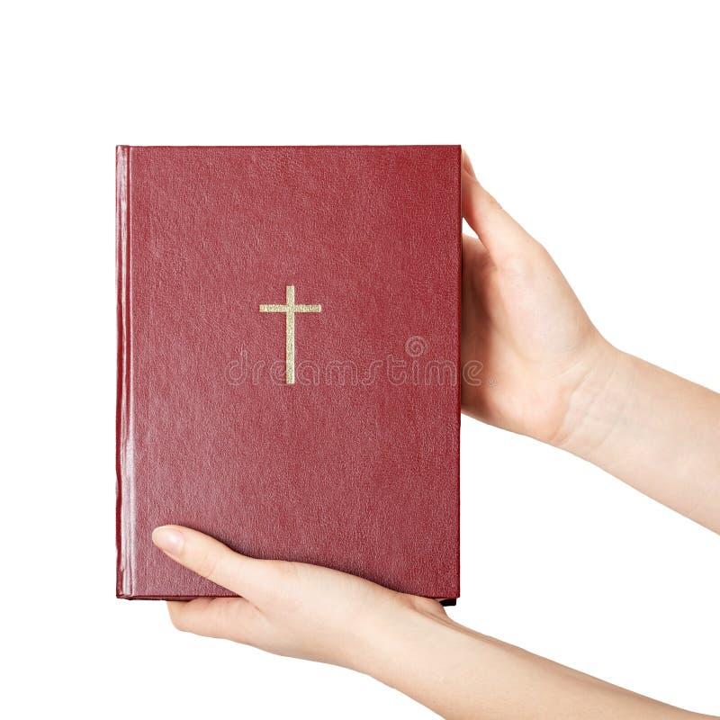Mãos que guardam a Bíblia do livro imagem de stock royalty free