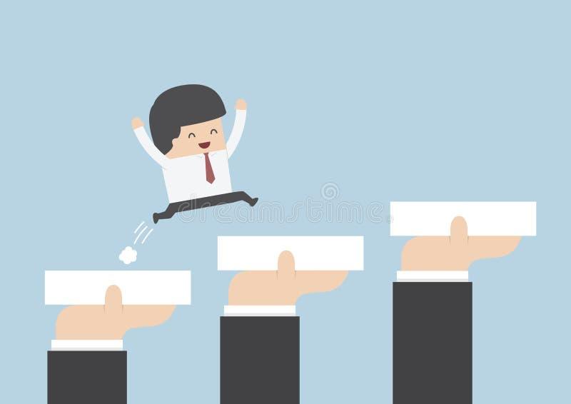 Mãos que guardam blocos para ajudar o homem de negócios a ir ao sucesso, Caree ilustração do vetor