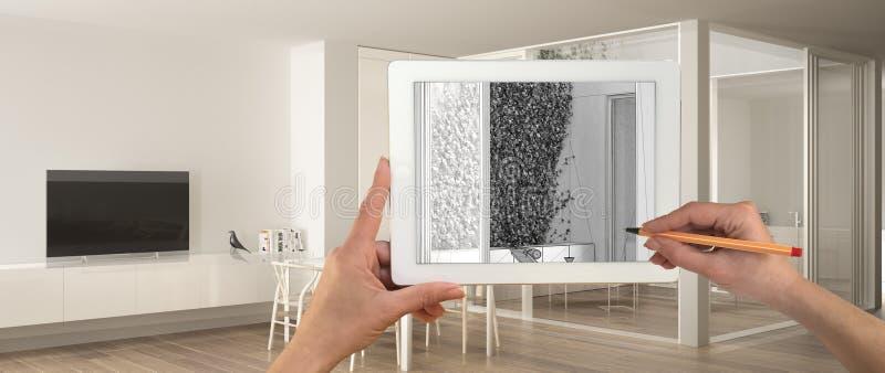 Mãos que guardam e que tiram na tabuleta que mostra o esboço branco minimalista do CAD da sala de visitas Interior terminado real ilustração do vetor