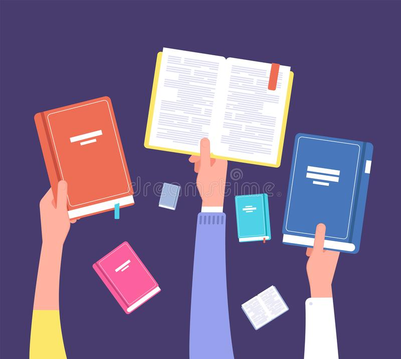Mãos que guardam livros Biblioteca pública, literatura e leitores Conceito do vetor da educação e do conhecimento ilustração do vetor