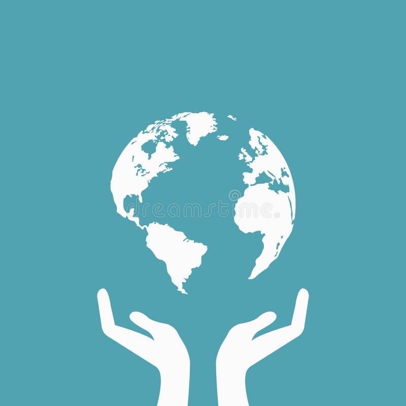 Mãos que guardam o ícone da Web da terra do globo Salvar o conceito da terra ilustração royalty free