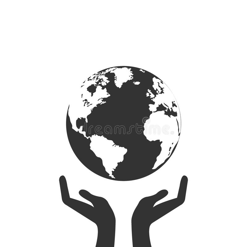 Mãos que guardam o ícone do preto da Web da terra do globo Salvar o conceito da terra ilustração do vetor