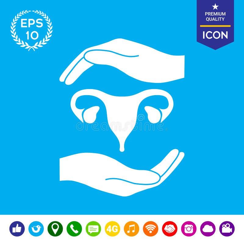 Mãos que guardam o útero fêmea - símbolo da proteção ilustração royalty free