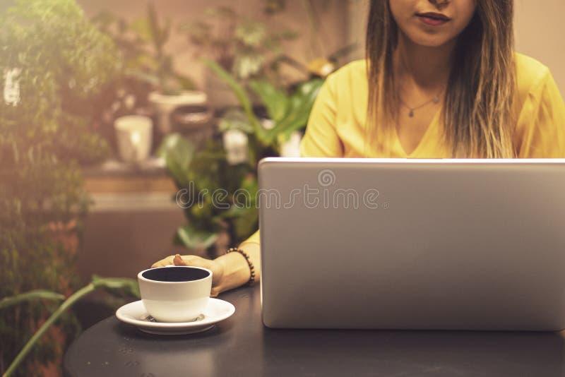 Mãos que guardam o cartão de crédito e que usam o portátil Compra em linha foto de stock