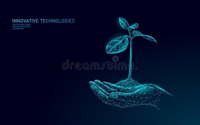 Mãos que guardam o conceito abstrato ecológico do broto da planta 3D rendem as folhas da árvore da plântula Ambiente de salvaguar ilustração stock