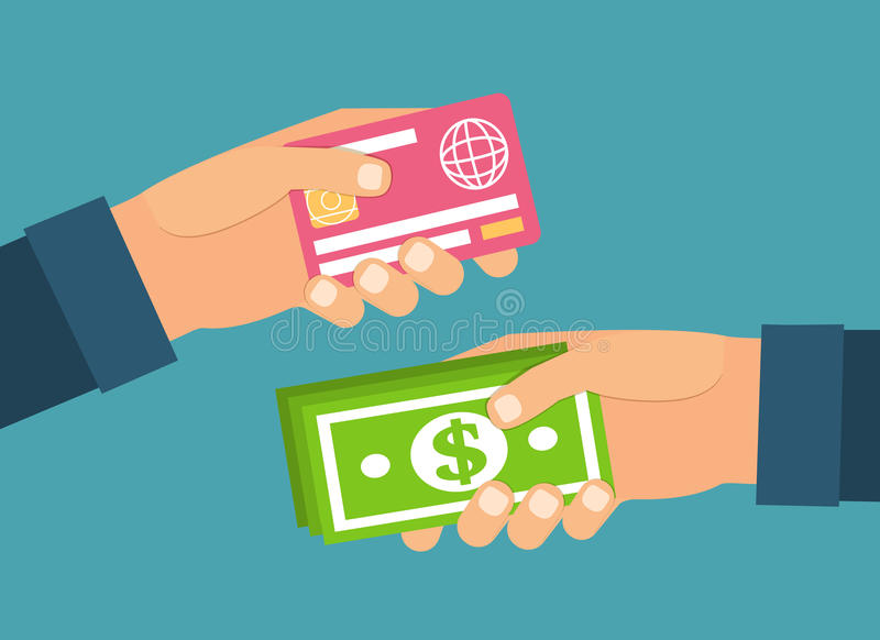 Mãos que guardam o dinheiro, cartão plástico Troca, ilustração stock