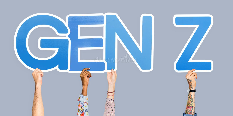 Mãos que guardam o Gen Z da abreviatura fotografia de stock
