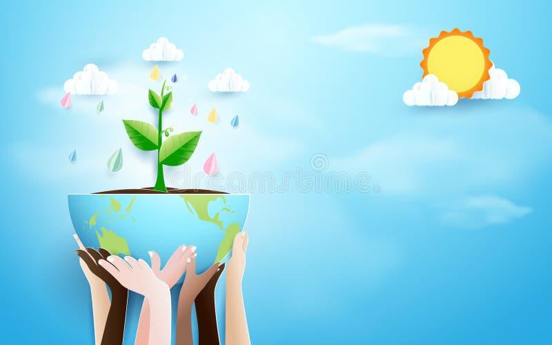 Mãos que guardam o globo com fundo da planta e da chuva Estilo de papel da arte e do ofício ilustração do vetor