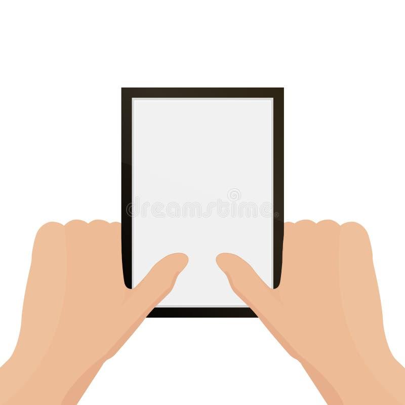 2 mãos que guardam o quadro da foto Ilustração do vetor Conceito social da rede Vetor Indicador do mensageiro ilustração stock