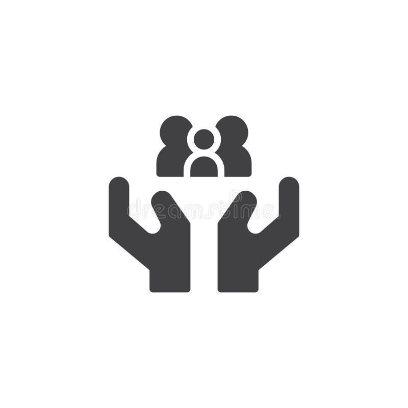 Mãos que guardam o vetor do ícone da família ilustração stock