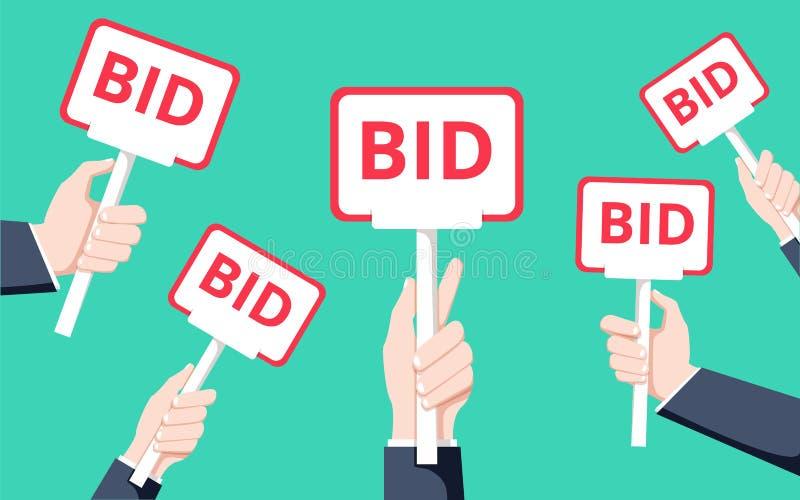 Mãos que guardam a pá do leilão Ilustração lisa do vetor Leilão e conceito do oferecimento Processo da venda ilustração do vetor