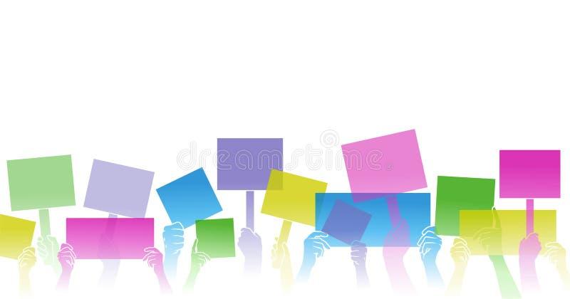 Mãos que guardam sinais e placas Silhueta da cor Beira horizontal ilustração stock