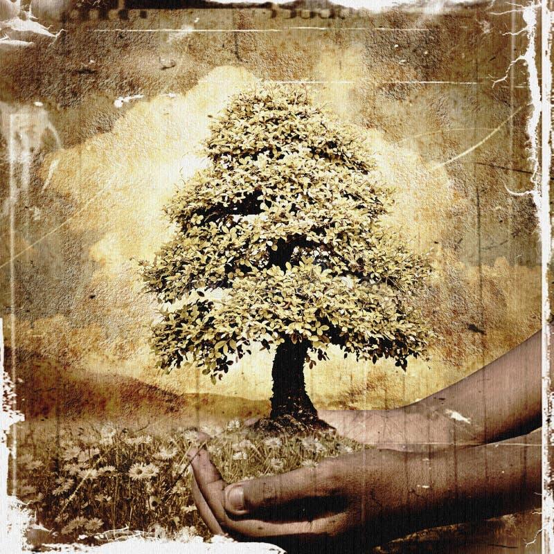 Mãos que guardam um fundo do grunge da árvore imagens de stock royalty free