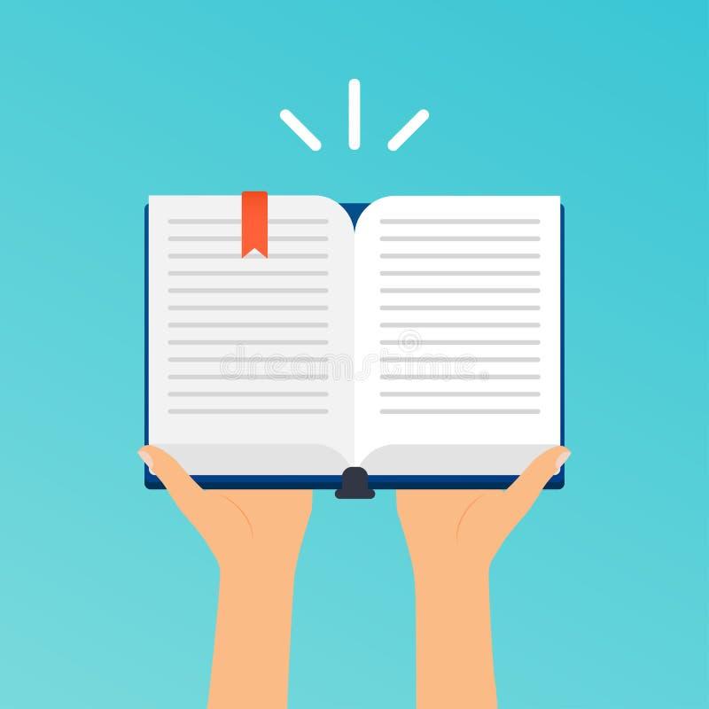 Mãos que guardam um livro aberto Illustrat moderno do vetor do projeto liso ilustração do vetor