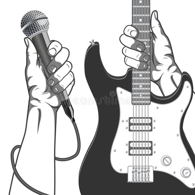 Mãos que guardam um microfone e uma guitarra Ilustração preto e branco do vintage ilustração royalty free