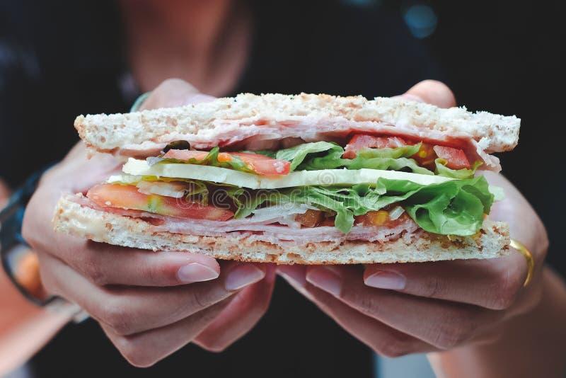 Mãos que guardam um sanduíche foto de stock royalty free