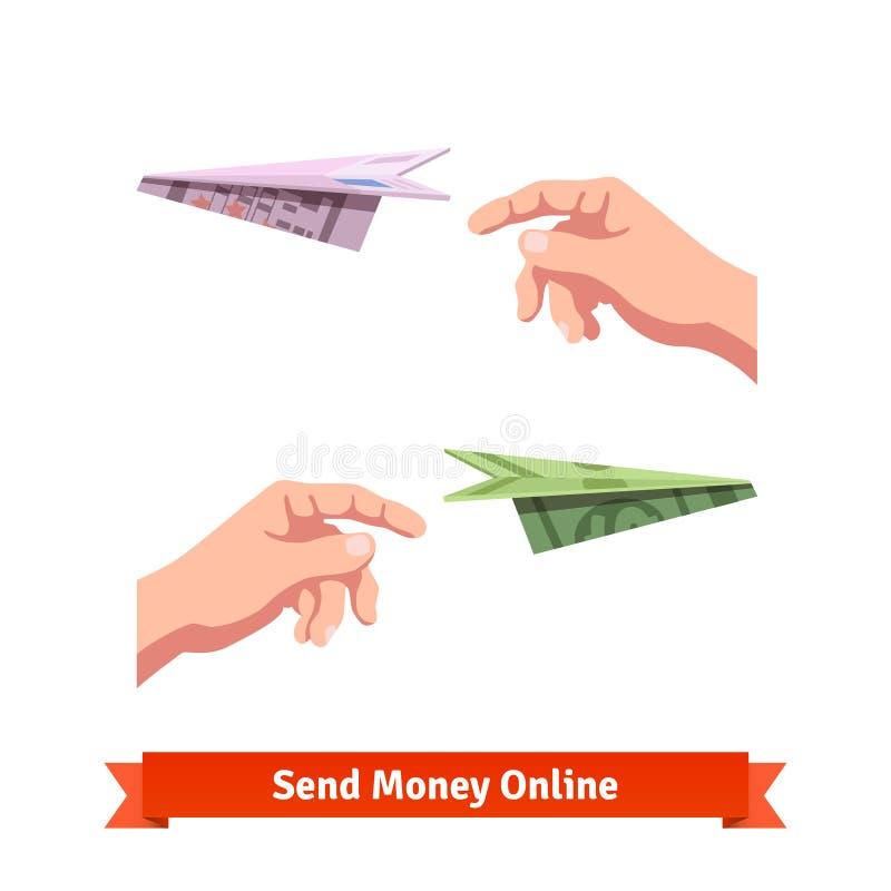 Mãos que jogam um dólar e uns euro- planos de papel ilustração stock