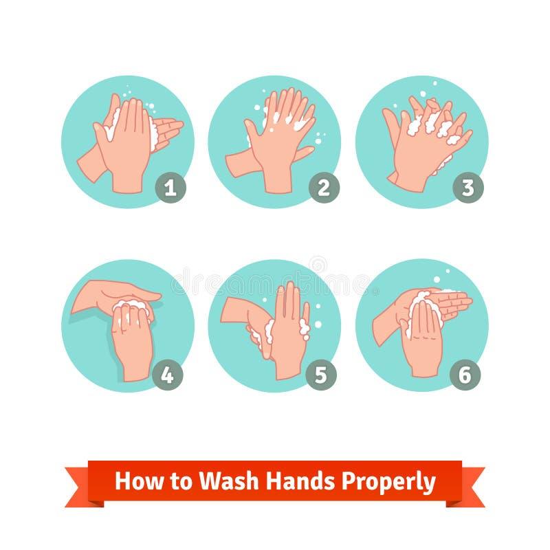 Mãos que lavam instruções médicas ilustração royalty free