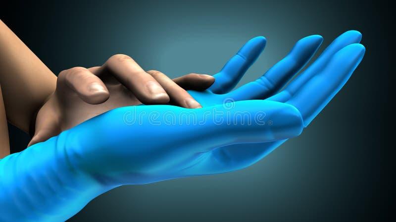 Mãos que põem sobre luvas sobre um fundo azul criativo ilustra??o 3D ilustração royalty free