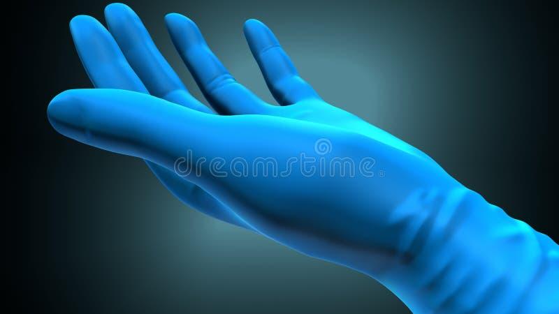 Mãos que põem sobre luvas sobre um fundo azul criativo ilustra??o 3D ilustração do vetor