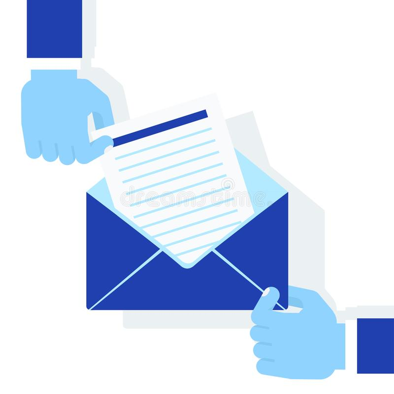 Mãos que prendem o envelope ilustração stock