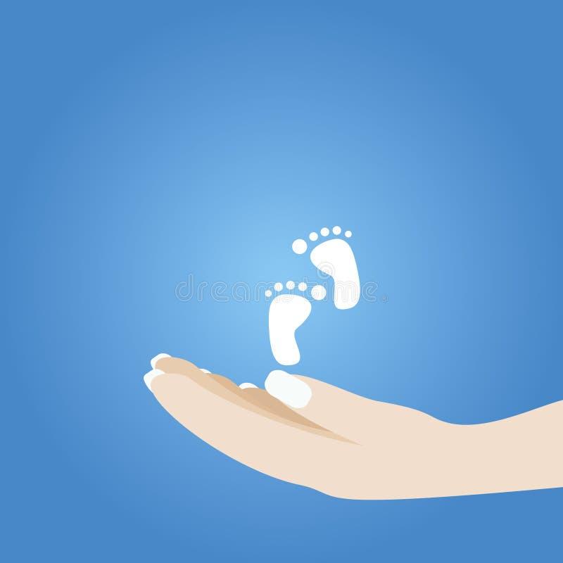 Mãos que prendem o pé do bebê ilustração royalty free