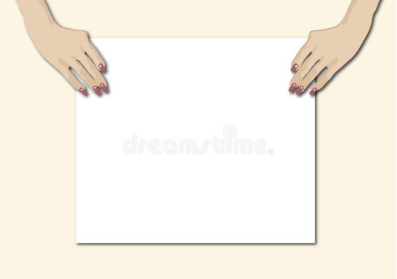 Mãos que prendem o sinal em branco ilustração do vetor