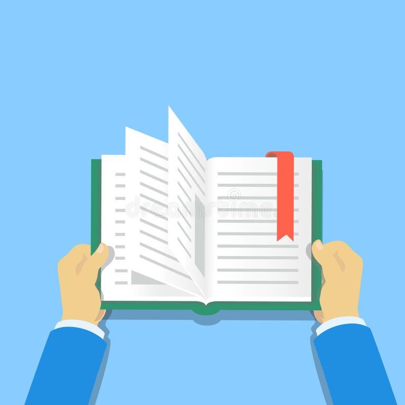 Mãos que prendem um livro Ilustração lisa do vetor dos livros de leitura dos povos ilustração royalty free