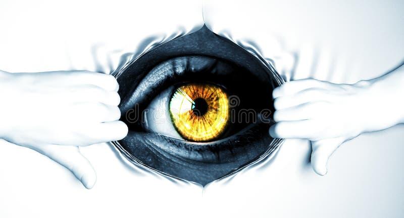 Mãos que rasgam branco ausente para revelar o globo ocular imagem de stock