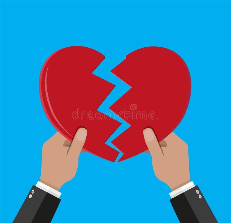 Mãos que rasgam o coração separado ilustração do vetor