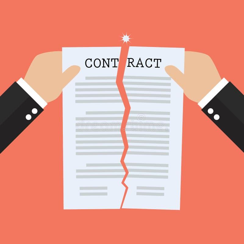 Mãos que rasgam o papel separado do original do contrato ilustração stock